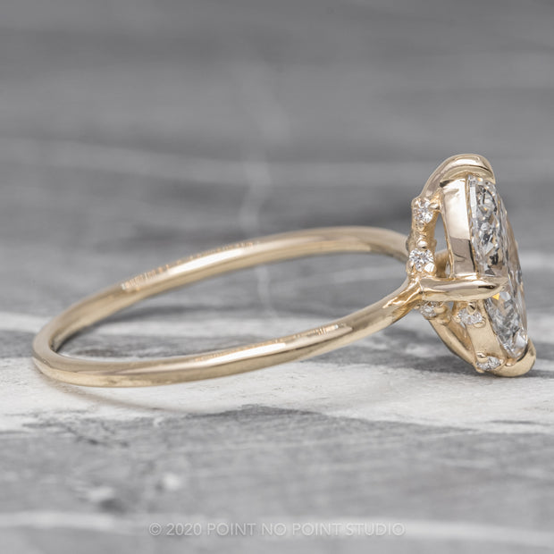 1.06ct Salt & Pepper Marquise Diamond Engagement Ring, Rhea Setting, 14K Yellow Gold