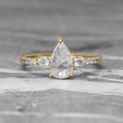 1.04ct Clear Pear Diamond Engagement Ring, Eliza Setting, 14K Yellow Gold