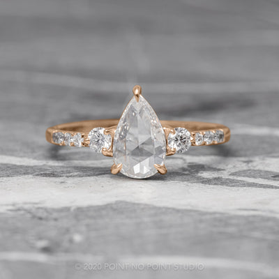 1.04ct Clear Pear Diamond Engagement Ring, Eliza Setting, 14K Rose Gold