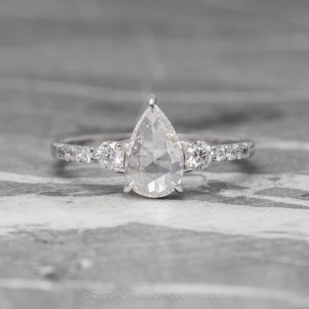 1.04ct Clear Pear Diamond Engagement Ring, Eliza Setting, 14K White Gold