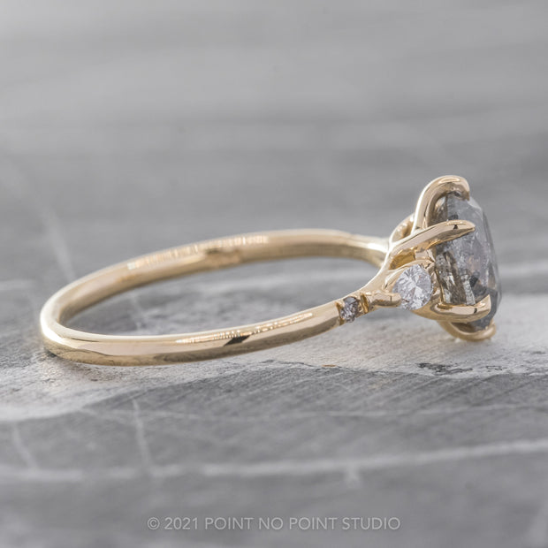 1.18ct Salt & Pepper Brilliant Cut Oval Diamond Engagement Ring, Betty Setting, 14k Yellow Gold