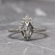 .88 tcw Salt & Pepper Geometric Diamond Engagement Ring, Ava Setting, 14K White Gold