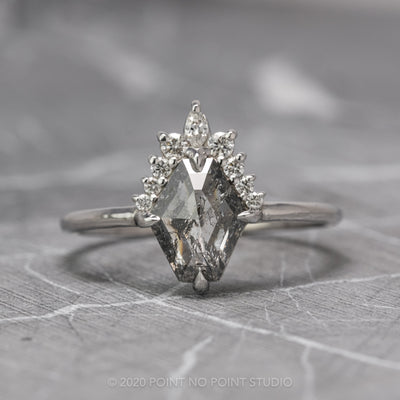 1.25 Carat Salt & Pepper Geometric Diamond Engagement Ring, Ava Setting, 14K White Gold