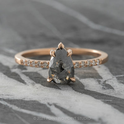 1.23ct Black Speckled Pear Diamond Engagement Ring, Jules Setting, 14K Rose Gold