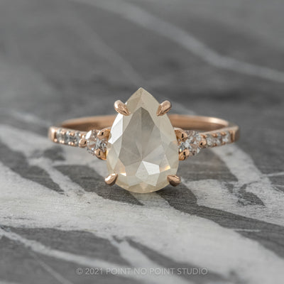 2.18ct White Pear Diamond Engagement Ring, Eliza Setting, 14K Rose Gold