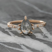 1.21ct Black Speckled Pear Diamond Engagement Ring, Eliza Setting, 14K Rose Gold