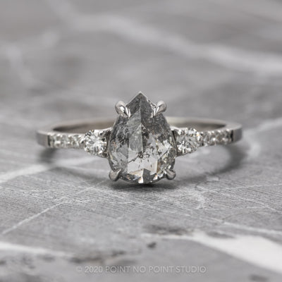 2.22 Carat Salt & Pepper Pear Diamond Engagement Ring, Eliza Setting, 14k White Gold
