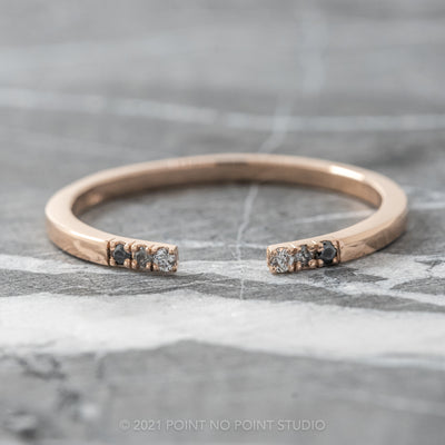 3 Diamond Ombre Diamond Wedding Ring, Ombre Harper, 14K Rose Gold