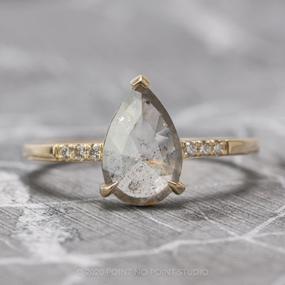 1.20 Carat Translucent Pear Diamond Engagement Ring, Sirena Setting, 14K Yellow Gold