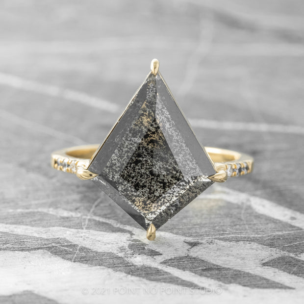 2.61ct Black Speckled Kite Diamond Engagement Ring, Jules Setting, 14K Yellow Gold
