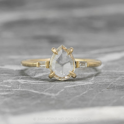.64 Carat Clear Pear Diamond Engagement Ring, Zoe Setting, 14K Yellow Gold