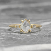 .97ct Clear Pear Diamond Engagement Ring, Zoe Setting, 14K Yellow Gold