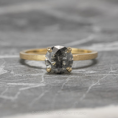 1.10ct Salt & Pepper Engagement Ring, Jane Setting, 14K Yellow Gold