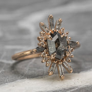 Custom Calico Halo Engagement Ring