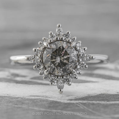 1.3ct Salt & Pepper Round Diamond Engagement Ring, Cosette Setting, Platinum
