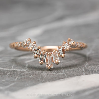 Baguette and Round Diamond Wedding Band, Gretchen Setting, 14K Rose Gold