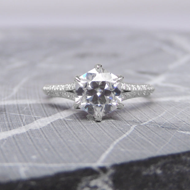 1.38ct Hexagon Moissanite Engagement Ring, Mackenzie Setting, 14K White Gold