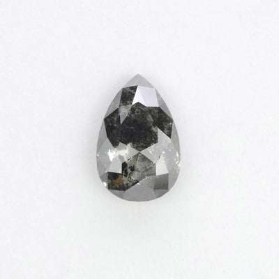 1.13 Carat Black Speckled Pear Rose Cut Diamond
