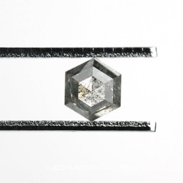 1.22ct Salt & Pepper Hexagon Rose Cut Diamond