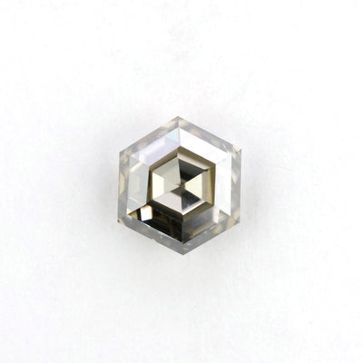 1.32 Carat Rose Cut Translucent Grey Hexagon Diamond
