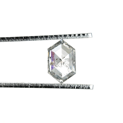 1.49ct Translucent Salt & Pepper Hexagon Rose Cut Diamond