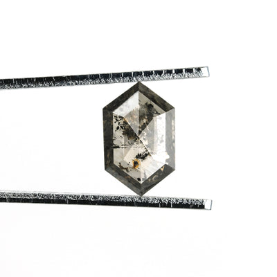 1.50ct Translucent Salt & Pepper Hexagon Rose Cut Diamond