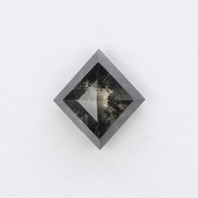 1.57ct Semi Translucent Black Rose Cut Lozenge Diamond
