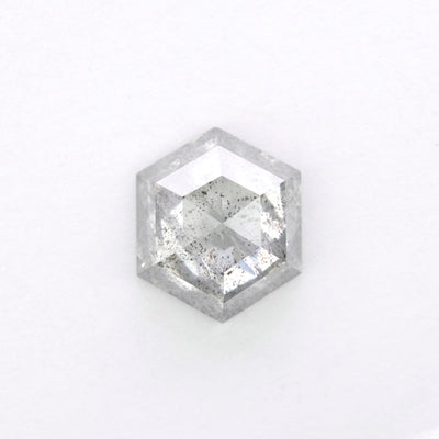 1.64ct Translucent Salt & Pepper Rose Cut Hexagon Diamond