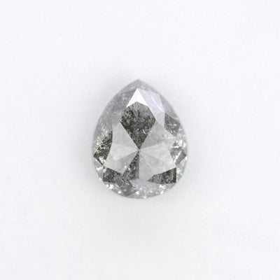1.65 Carat Salt & Pepper Pear Rose Cut Diamond