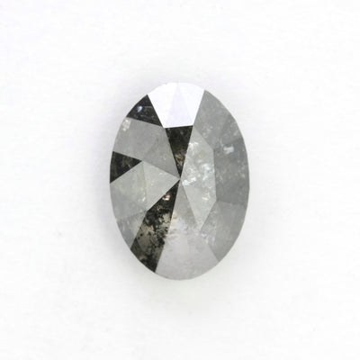 1.76 Carat Black Speckled Rose Cut Oval Diamond
