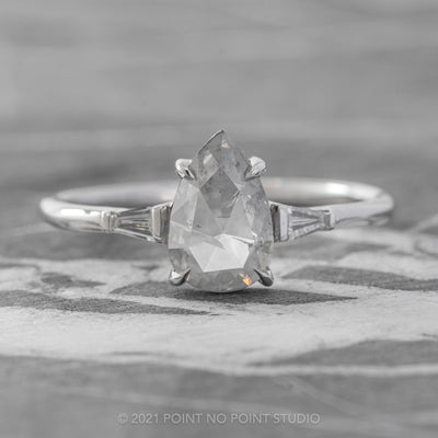 1ct Opalescent Grey Pear Diamond Engagement Ring, Zoe Setting, 14K White Gold