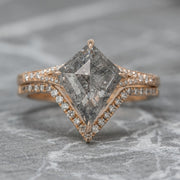 1.82ct Salt & Pepper Kite Diamond Engagement Ring, River Setting, 14K Rose Gold