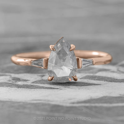 1.02ct Opalescent Grey Pear Diamond Engagement Ring, Zoe Setting, 14K Rose Gold