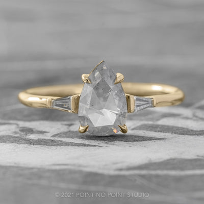 1.02ct Opalescent Grey Pear Diamond Engagement Ring, Zoe Setting, 14K Yellow Gold