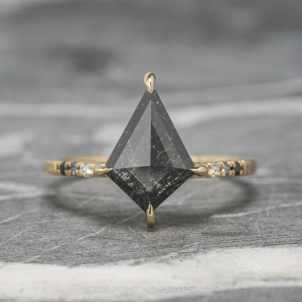 1.85ct Black Speckled Kite Diamond Engagement Ring, Ombre Jules Setting, 14K Yellow Gold
