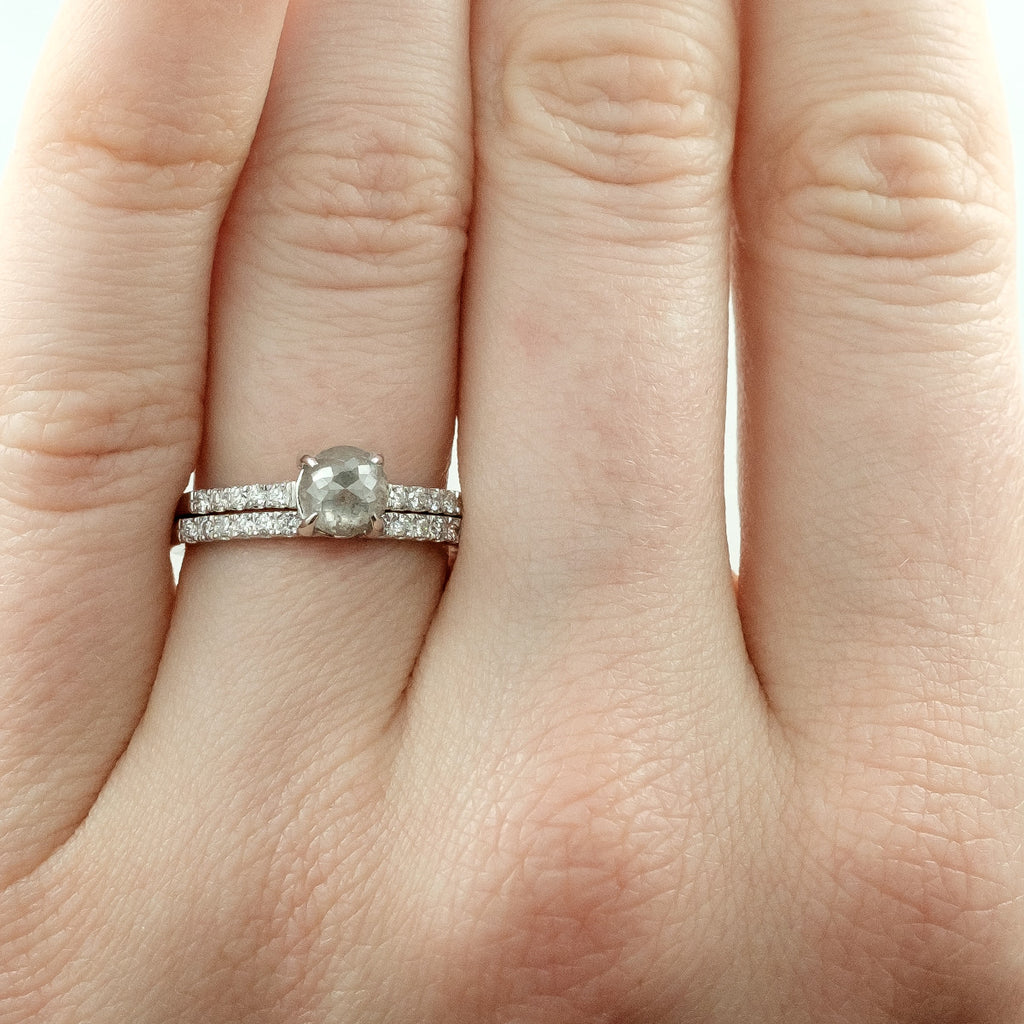 14k White Gold Half Eternity White Diamond Wedding Band Half Round