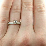 14k Yellow Gold Half Eternity White Diamond Wedding Band, Half Round Style - Point No Point Studio - 5