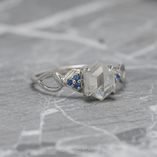 Custom leaf Quinn engagement ring