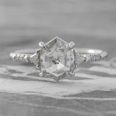 2.18ct Translucent Salt & Pepper Hexagon Diamond Engagement Ring, Eliza Setting, Platinum
