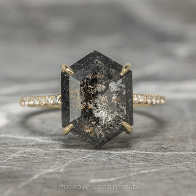 2.57ct Black Speckled Hexagon Diamond Engagement Ring, Jules Setting, 14K Yellow Gold