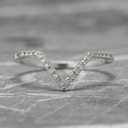 Large Diamond Chevron Band, 1mm diamonds, 14K White Gold