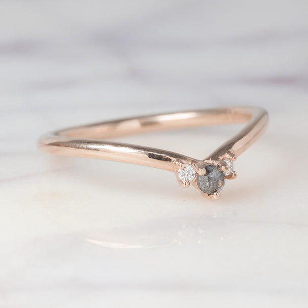Grey and White Diamond Wedding Band