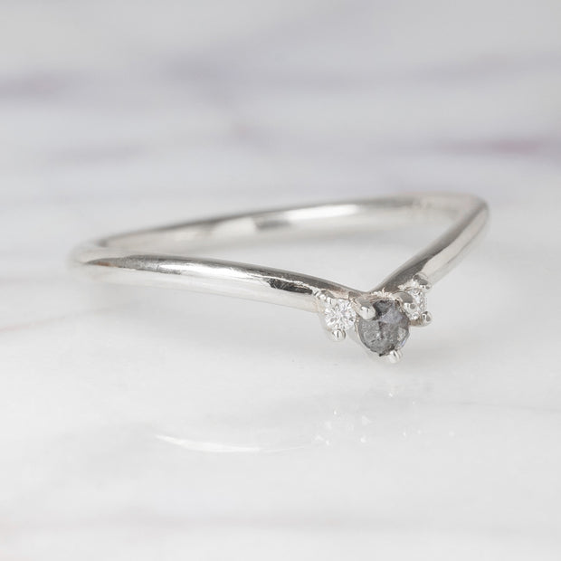 Grey and White Diamond Wedding Band, Charlotte Setting, 14K White Gold
