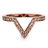 14k Rose Gold Diamond Chevron Band No. 02 - Point No Point Studio - 1