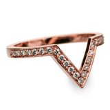 14k Rose Gold Diamond Chevron Band No. 02 - Point No Point Studio - 2