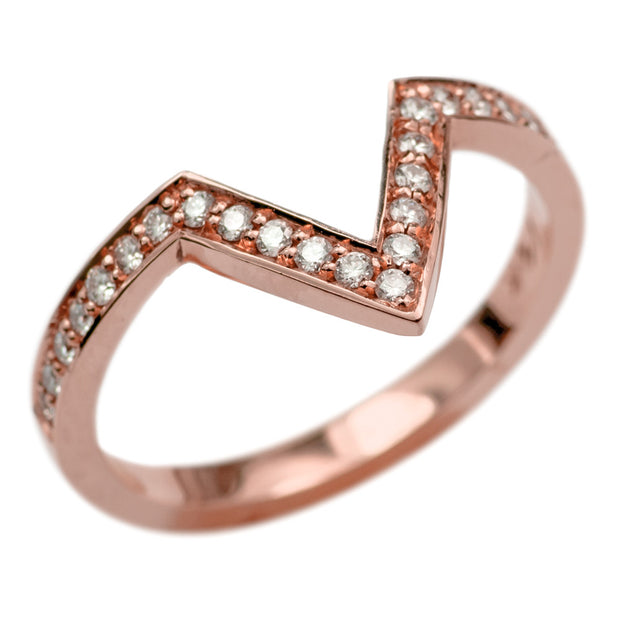 14k Rose Gold Diamond Chevron Band No. 02 - Point No Point Studio - 3