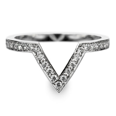 14k White Gold Diamond Chevron Band No. 02 - Point No Point Studio - 1