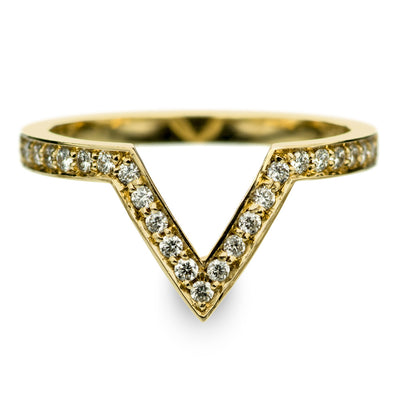 14k Yellow Gold Diamond Chevron Band No. 02 - Point No Point Studio - 1