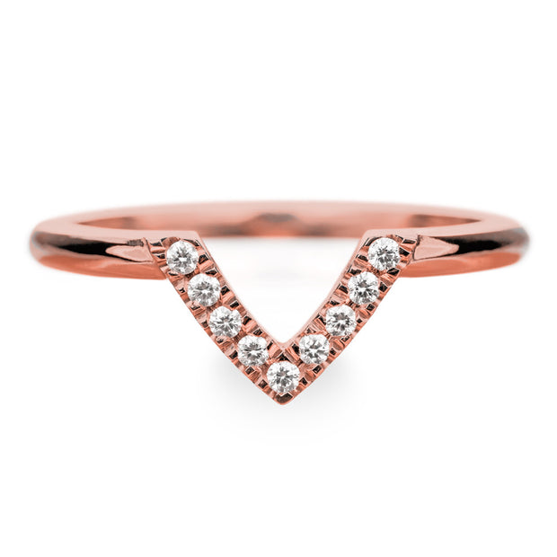 14k Rose Gold Diamond Chevron Band No. 01 - Point No Point Studio - 1