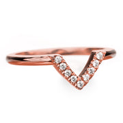 14k Rose Gold Diamond Chevron Band No. 01 - Point No Point Studio - 2